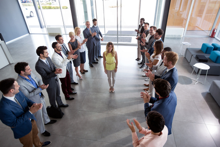 employer applauding to happy confident leader 写真素材
