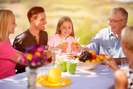 happy family together concept - family having a picnic