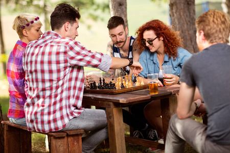 Game of chess in progress in nature