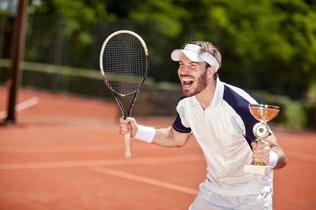 Delight male winner in tennis match