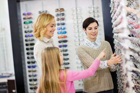 Eyewear shop has large selection of frames for glasses for children and adults 写真素材