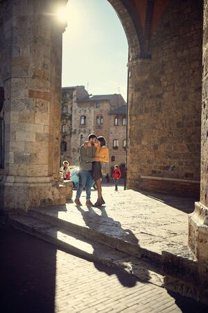 Romantic journey of a loving young couple Stok Fotoğraf