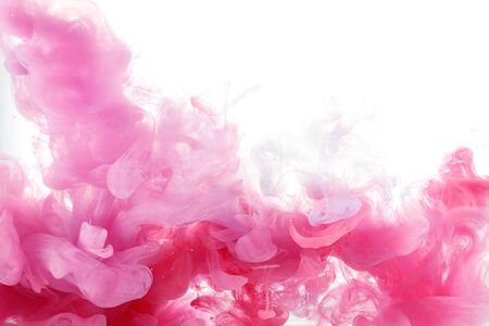 beautiful pink color shape in water on white background Stock Photo