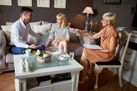 Husband and wife at psychologist reveal their marital problems