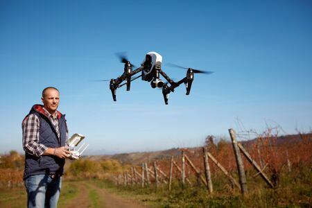 Making landscape video with drone from sky Stock Photo