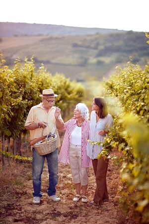 Happy family working at winemaker vineyard