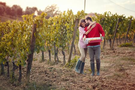Autumn vineyards. Wine and grapes. Smiling man and woman walking in between rows of vines Stock Photo