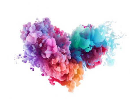 Heart shape Splash from colorful water paint