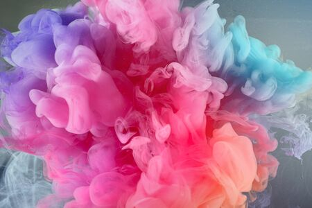 Beautiful  from acrylic rainbow colors in water Stock Photo