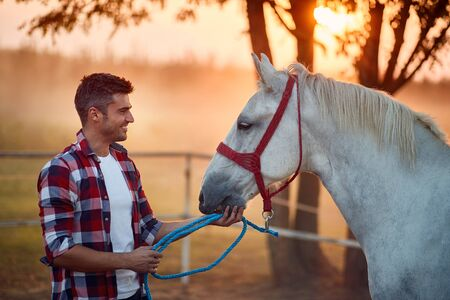Man with hourse. Smiling man and her horse on a sunset.