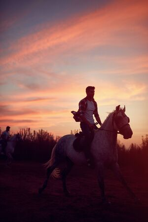Young man riding horses in the sunset.- freedom and hapiness Standard-Bild