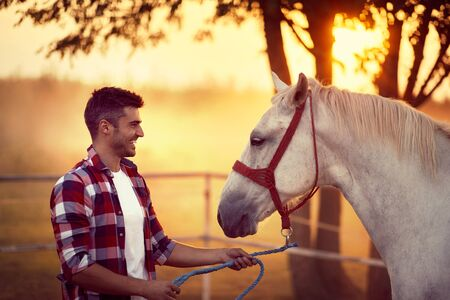 Young man and his horse starting the day together. Fun on countryside, sunset golden hour. Freedom nature concept.