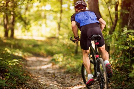 biking on a sunny day in the forest , back view of mountain biker .Spring, nature ,sport concept