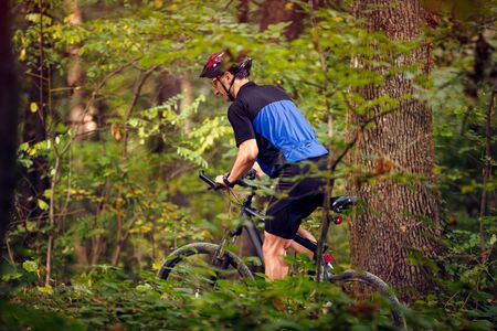 Cyclist in green forest ride bike and wearing protective clothing .Spring, nature ,sport concept