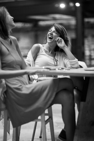two caucasian female friends having a great time at cafe, laughing, enjoying