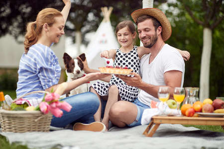 Celebration on a family picnic on a beautiful day