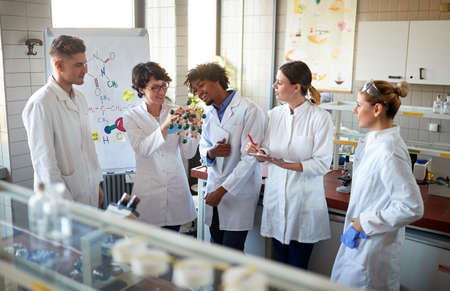 Team of young laboratory technicians discussing in the lab