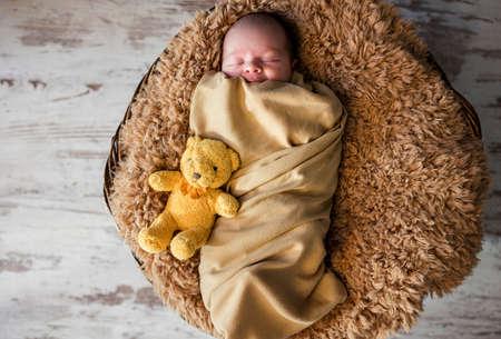 sleeping newborn baby on a blanket with a teddy Standard-Bild