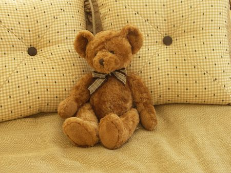 Teddy Bear Sitting on Bed