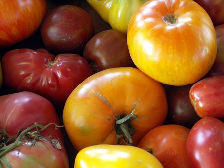 Heirloom Tomatoes Close-up Detail