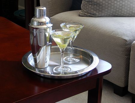 martini shaker: Martini Glasses and shaker on tray