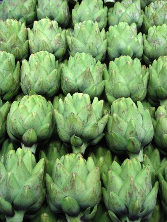 Rows of fresh green artichokes