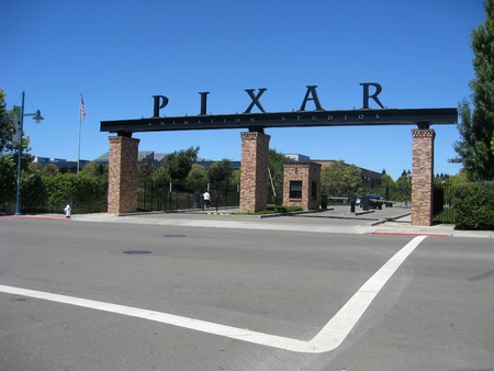 famous industries:  Emeryville, California, August 13, 2009 - Entrance to Pixar Animation Studios