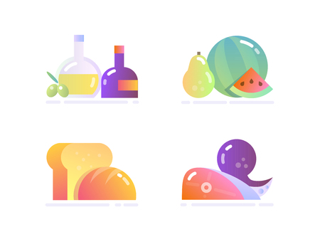 Icon Set in Flat Glossy Style. Various food: Condiments, Seafood, Bread, Fruit Ilustração