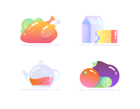 Icon Set in Flat Glossy Style. Various food: Poultry, Dairy, Tea, Vegetable 일러스트