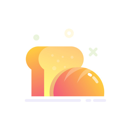 Illustration of Bread Icon in Flat Glossy Style