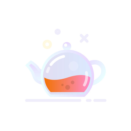 Illustration of Glass Teapot Icon in Flat Glossy Style