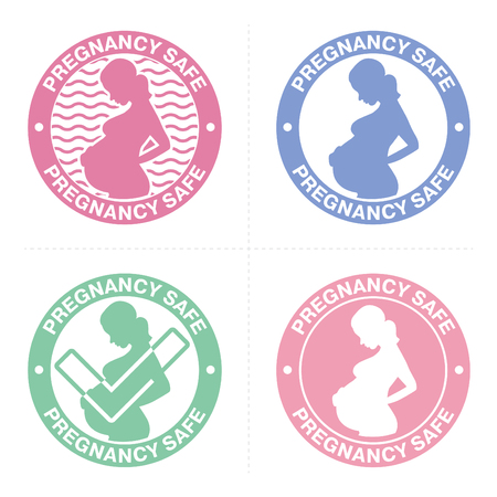 Set of stamp for products that are allowed for pregnant women. Pregnancy safe sign