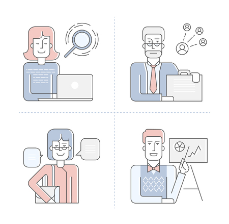 illustration in linear flat style. Outline characters of businessmen, businesswoman, hr manager with infographic elements Stock Illustratie