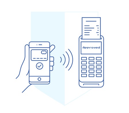 outline flat illustration of safe nfc payment approved on a terminal. Mobile payments with a smart-phone in linear flat style