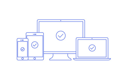 linear illustration of four devices for responsive web programming. Computer laptop tablet and phone in outline flat style