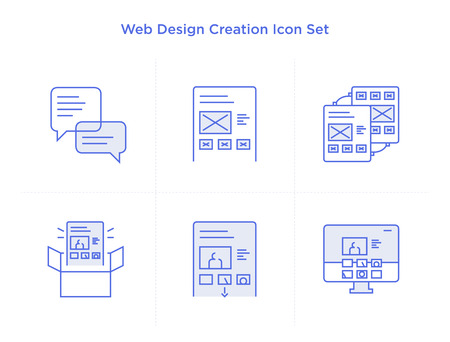 web development: icon set of web site creation process. Illustration of web development work flow in linear flat style