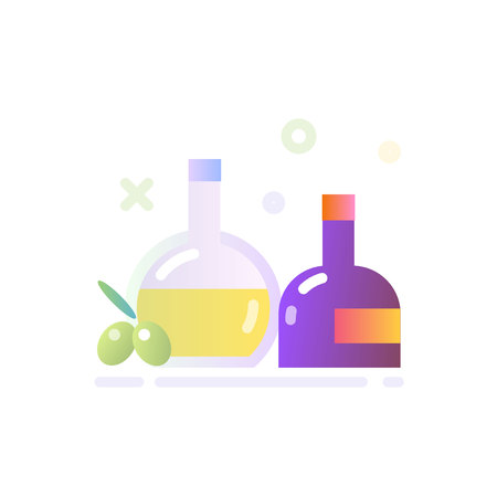 Illustration of Olive Oil and Vinegar Icon in Flat Glossy Style