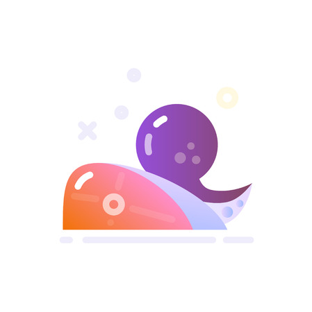 Illustration of Seafood Icon in Flat Glossy Style Illustration
