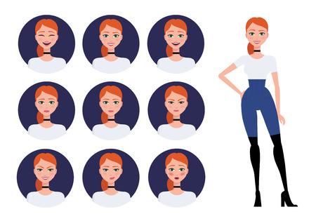 illustration character of a young fashionable beautiful girl wearing a choker necklace and over the knee boots. Various faces and moods and full body set in flat style