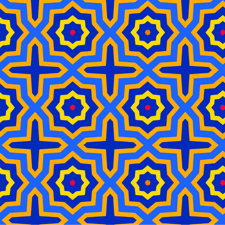 Colorful arabesque seamless pattern. Vector texture in blue orange yellow