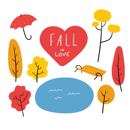 Vector Set of Autumn Trees and Objects. Isolated Hand Drawn Illustration in Fall Warm Colors with Lettering Fall in Love Stock Illustratie