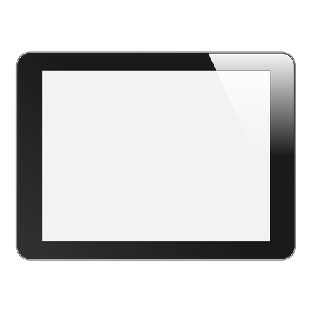 Realistic Tablet PC with blank screen  Black, horizontal  Isolated on white background  Vector EPS 10 Stock Vector - 16578844