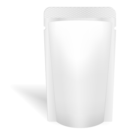 Blank white bag packaging for liquids, drink or food  Vector  Product package template 일러스트