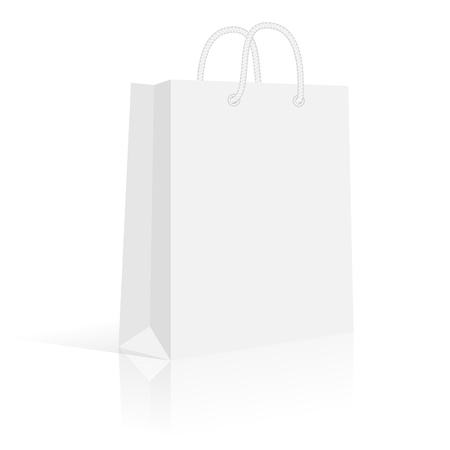 Blank paper shopping bag with rope handles  Vector, isolated Illustration