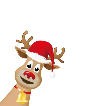 Rudolph reindeer, with red nose and a red Christmas hat