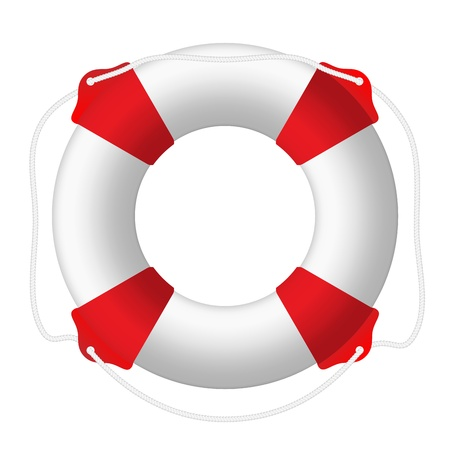 White lifebuoy, red stripes, rope. Isolated Vector Illustration