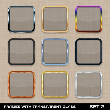 Set Of Colorful App Icon Frames, Templates, Buttons  Set 2  イラスト・ベクター素材