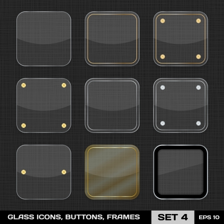 Set Of Colorful App Icon Frames, Templates, Buttons  Set 4 Stock Vector - 18132773
