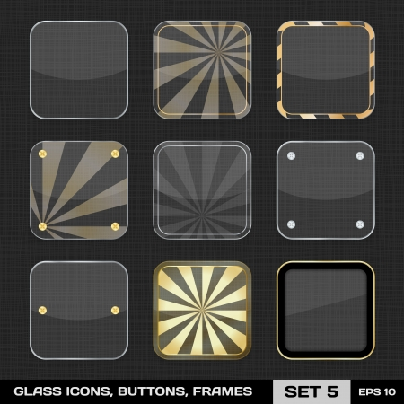 Set Of Colorful App Icon Frames, Templates, Buttons  Set 5 Stock Vector - 18132770