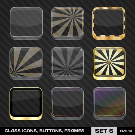 Set Of Colorful App Icon Frames, Templates, Buttons  Set 6   Vector